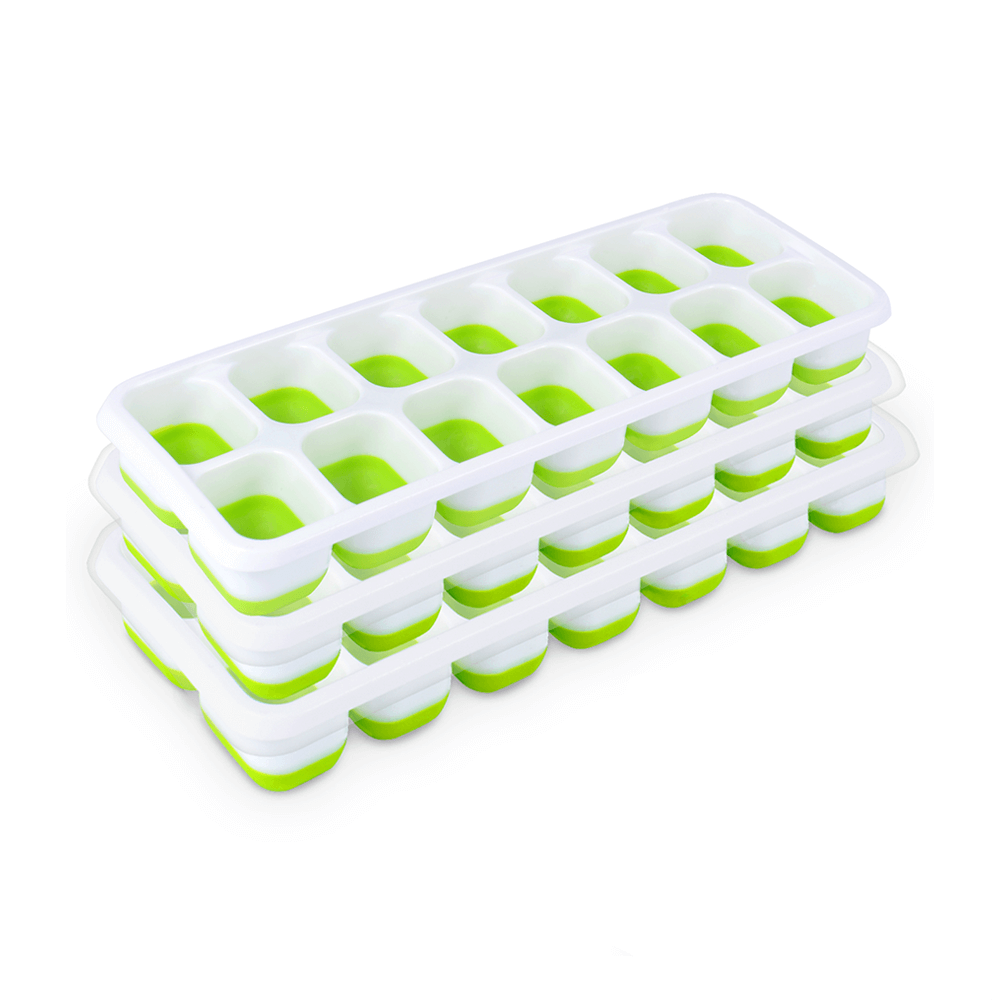 3 pieces of 12593 green and white small 14-cell semi-silicone ice tray with lid.jpg