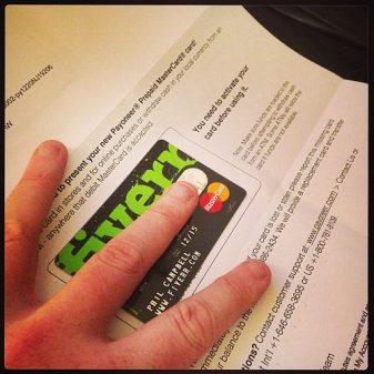 Fiverr Logo on a Credit Card