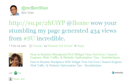 Mr Ben Wan's Tweet about StumbleUpon Traffic