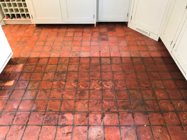 Quarry Tiled Kitchen Floor Bucklebury During Cleaning