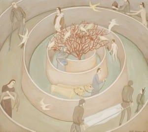 Rachel Feferman: Spring - The Offering (gouache) - is on display at Bainbridge Island Museum of Art