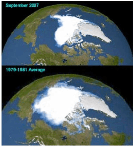 Over a period of 28 recent years, global warming caused a startling reduction in the late summer coverage of arctic ice