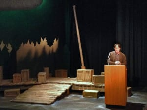 Author David Guterson speaking on the set of Snow Falling on Cedars (dwalker photo)