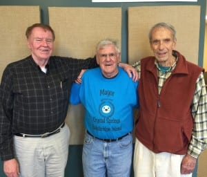 Long-time members of the Oatmeal Club gather at BCB studios: (left to right) retired physician Jim Kadlec, Bainbridge-born Reid Hansen (honorary mayor of Crystal Springs), and retired banker Don Marsh.