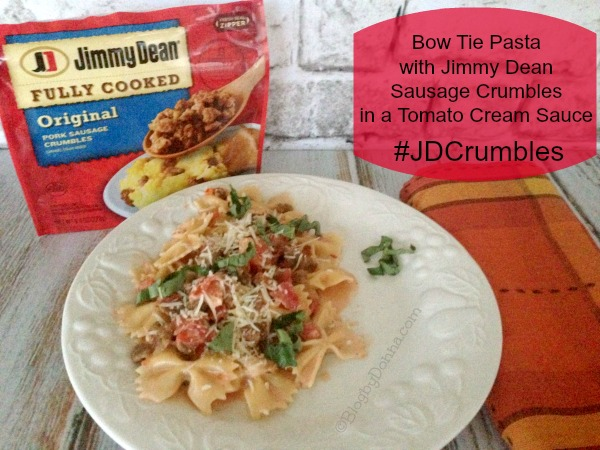 Jimmy Dean Sausage Crumbles Pasta Recipe Plated #JDCrumbles