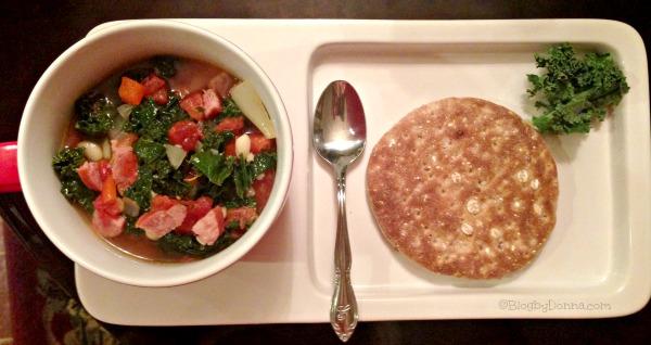 smoked sausage kale white bean soup recipe final pic #HillshireSausage