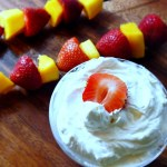 Coconut dip and strawberry mango fruit kabobs