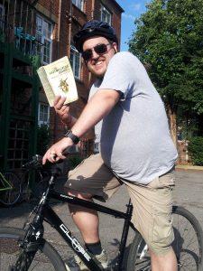 I'm reading a book on a bike