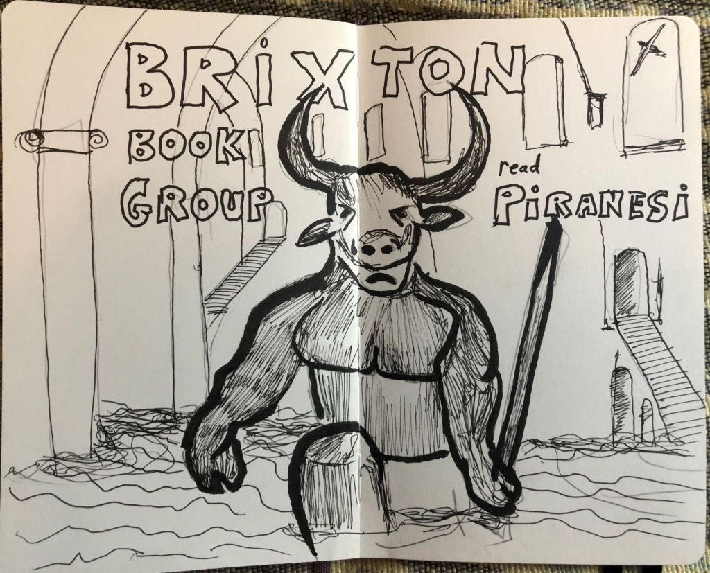 Terrible sketch that's trying to show a statue of a minotaur standing in a flooded endless house