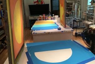 Nina Mickelsen's silk screening studio in Lewes.