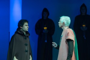 Pippin (Mark Wiening) confronts his father Charlemagne (Bob Chauncey)