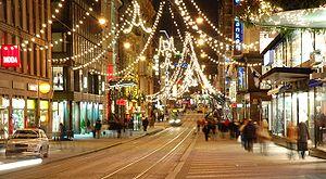 Christmas lights on Aleksanterinkatu.