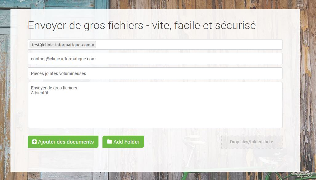 Envoyer fichier FileMail