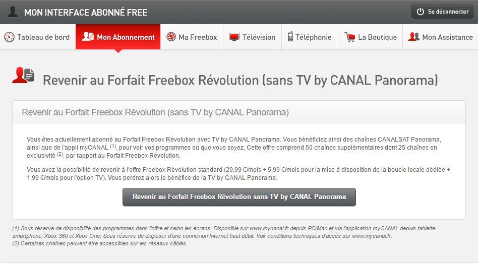 Revenir au forfait Freebox Révolution sans TV by Canal Panorama