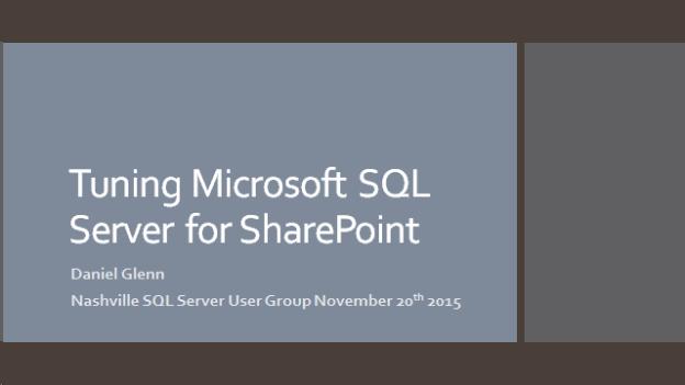 Nashville SQL Server User Group Presentation