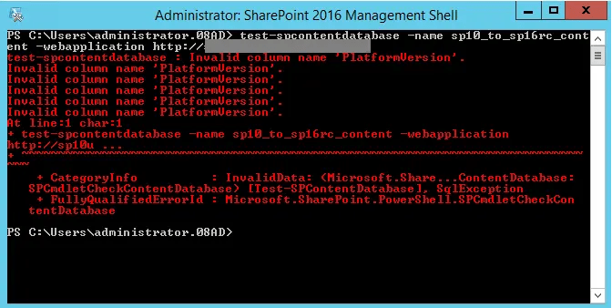 Test-SPContentDatabase 2016 RC on SharePoint 2010 Database