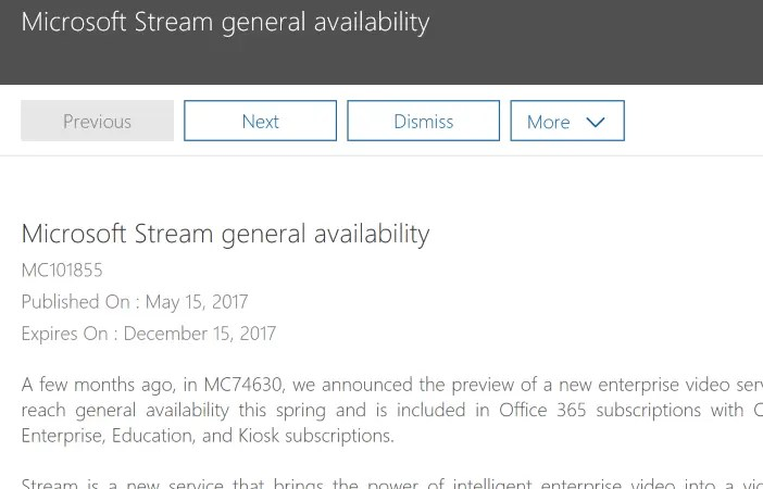 Microsoft Stream General Availability