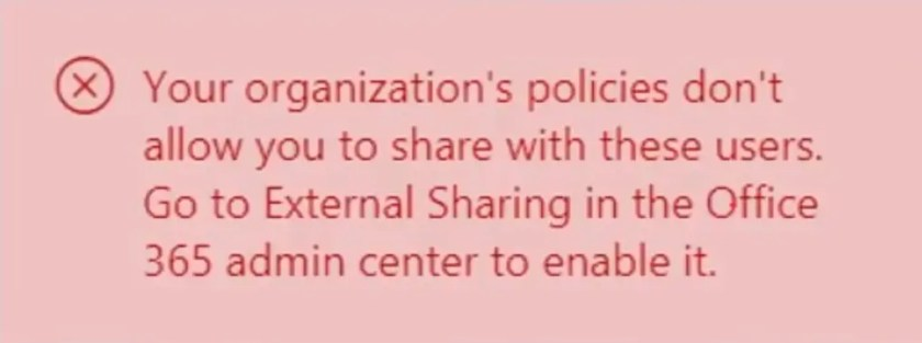 External Sharing Error