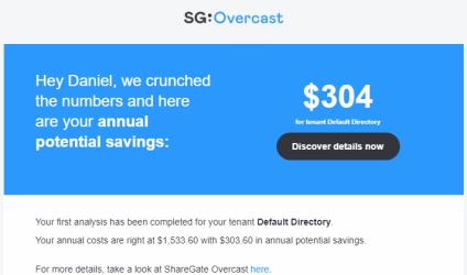ShareGate Overcast Email