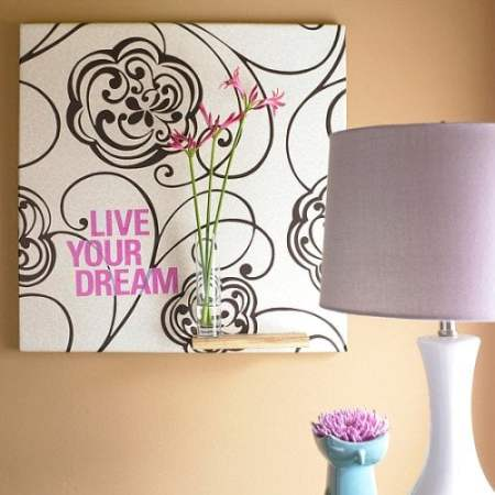wall art using wallpaper scraps
