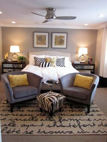 gray and yellow bedroom - diyhomedesignpins