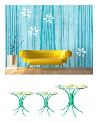 wall coverings and upcylced furniture