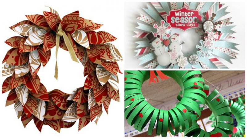 Come fare una corona per il nuovo anno con le tue mani da tinsel e carta sulla porta