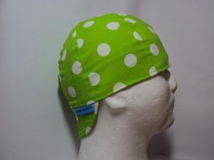 Dots White On Lime Welding Hat