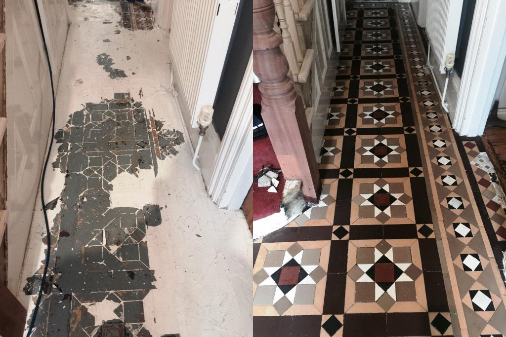 Removing Paint From Victorian Hallway Tiles Cleaning Tile