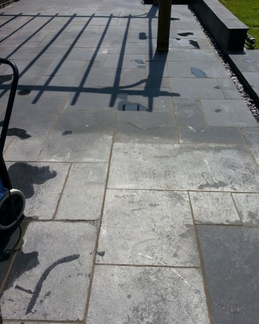 Limestone Patio in Crowborough Before Cleaning