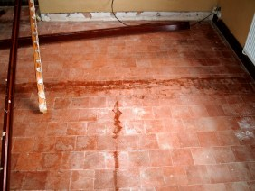 Old Quarry Tile Floor Warninglid Before Restoration