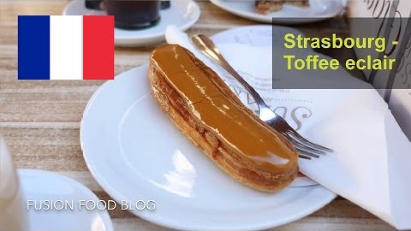 Breakfast at a french cafe in Strasbourg toffee eclair nougat croissant vlog