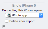 Image Capture Connecting iPhone opens setting