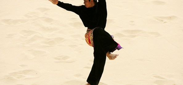 Pentcak Silat on the beach at the Asian Beach Games