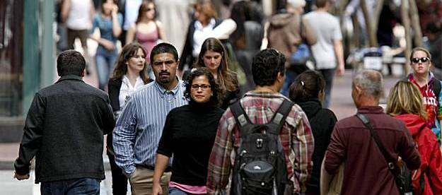 Pedestrians on Market Street in San Francisco