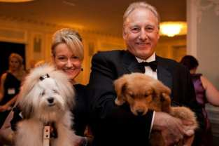 Kim Gleeson & Richard Doermer with Spencer & PAWS pup, photo by Malia Rae Photography