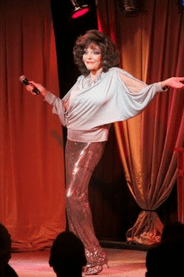 """Joan Collins appearing at NYC's B.B. King in """"One Night With Joan""""."""