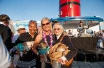 Dawn O'Neal, Paula Fasseas & Bernice Pink with dogs Winston, Dominic & Pica