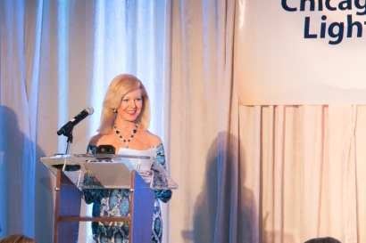Anida Johnson Cookie Cohen, chair of The Chicago Lighthouse's 2015 Annual Dinner, flashes a smile as she addresses guests at the gala event - Courtesy of John Reilly Photography