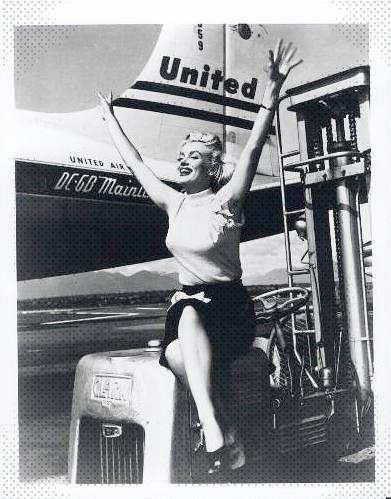 Marilyn Monroe looking very excited to take a flight with United Airlines. I wonder if she was alive today if she would still feel the same?