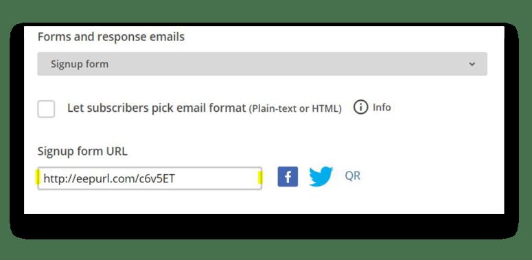 Mailchimp tutorial list share url
