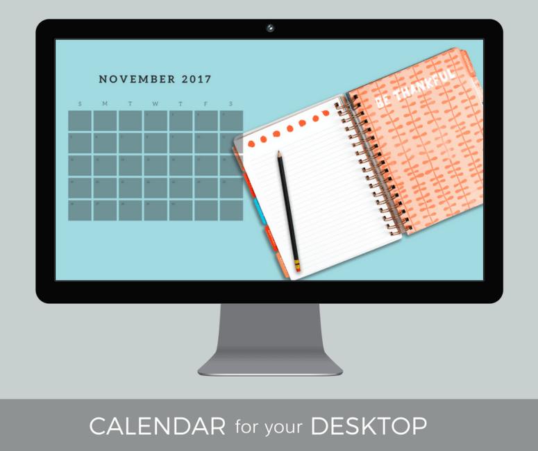 November 2017 Desktop Calendar Wallpaper