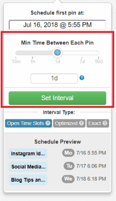 How to schedule Pinterest using Tailwind Intervals