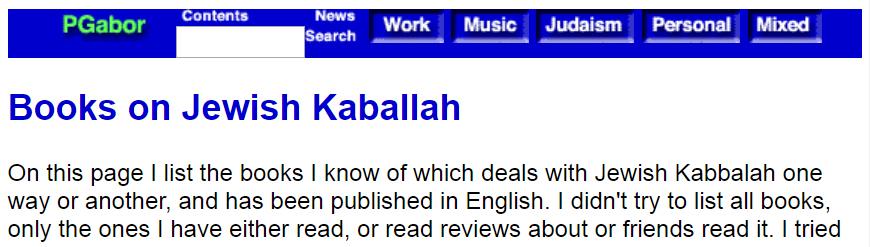 List of Kabbalah books at pgabor.com