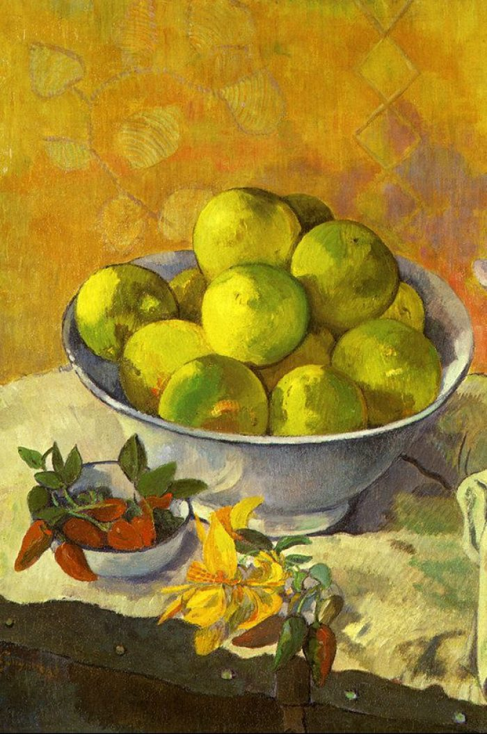 """Detail from Paul Gauguin's """"Nature morte aux pamplemousses"""" (""""Still Life with Grapefruits""""), 1901. Private collection, Lausanne. (See the whole painting.)"""