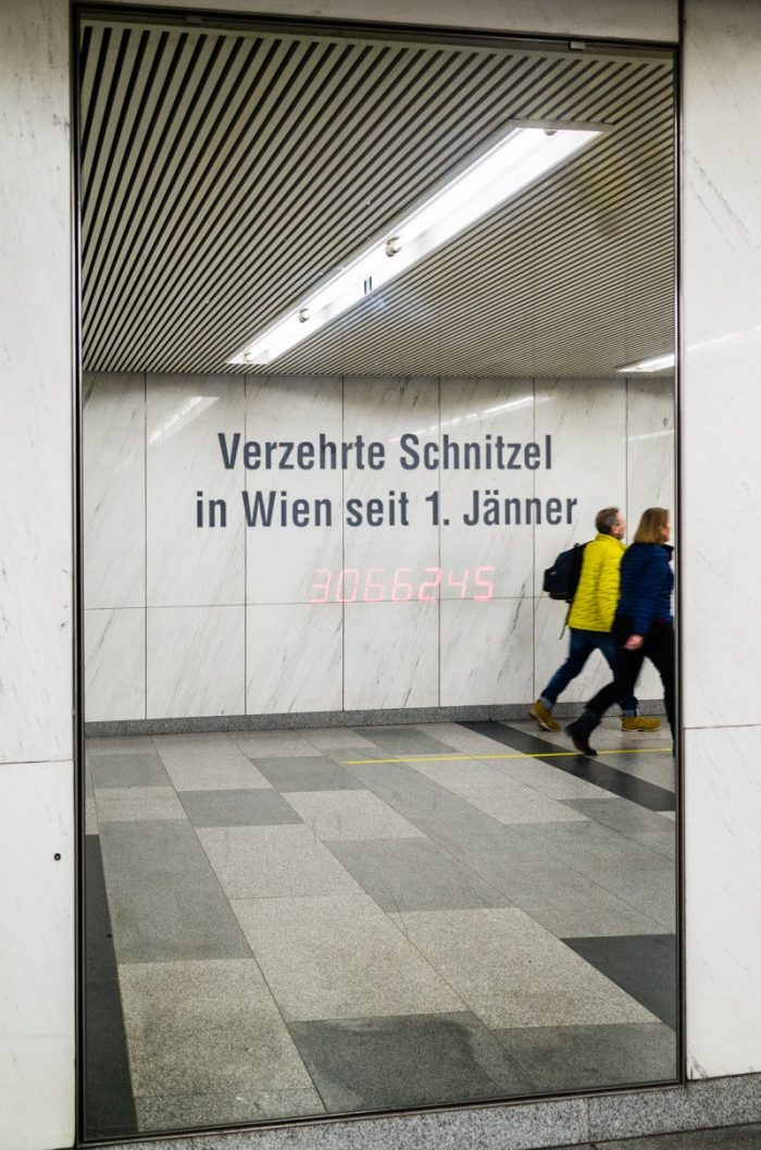 """Schnitzels eaten in Vienna since January 1st."" This counter is part of the permanent media installation <a href=""https://en.wikipedia.org/wiki/Pi_(art_project)"" target=""_blank"" rel=""noopener"">""Pi"" by Canadian artist Ken Lum</a> (located in the Opernpassage, between the subway entrance near the Secession building and the Naschmarkt and the subway stop ""Karlsplatz"")."