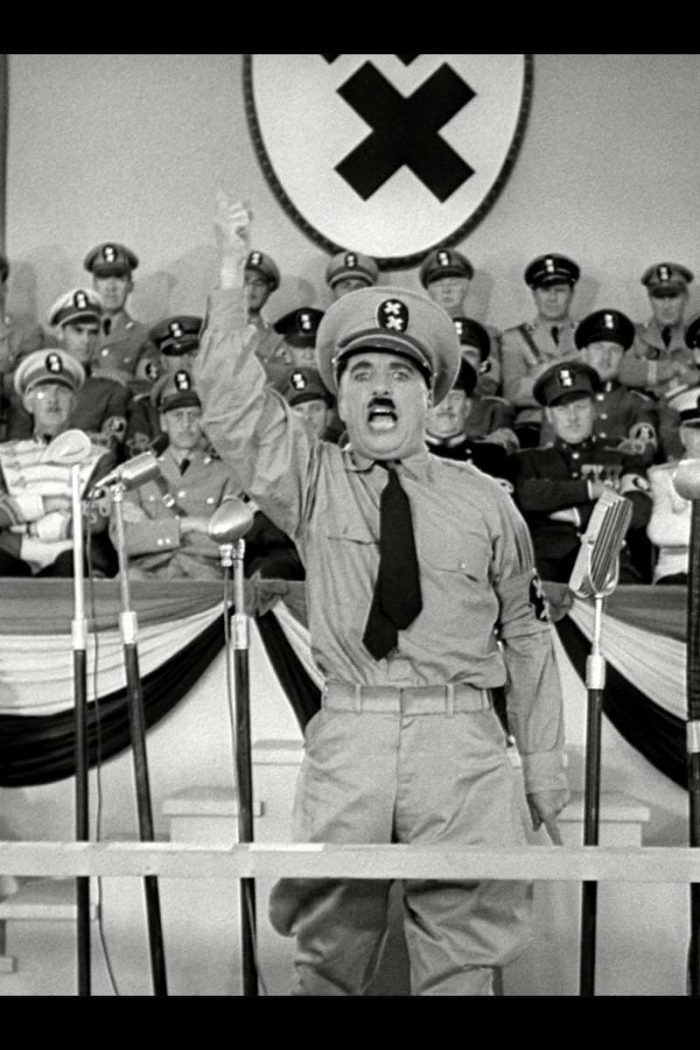 """<em>The Wiener schnitzel mitt the lager beer'tn and the sauerkraut!""</em> Charlie Chaplin in 1940 performing his Hitler parody in <a href=""https://www.amazon.com/Great-Dictator-Criterion-Collection-Blu-ray/dp/B004NWPXZS/ref=tmm_mfc_swatch_0?_encoding=UTF8&amp;qid=1486040286&amp;sr=1-2"" target=""_blank"" rel=""noopener"">The Great Dictator</a>, one of the best movies ever made."