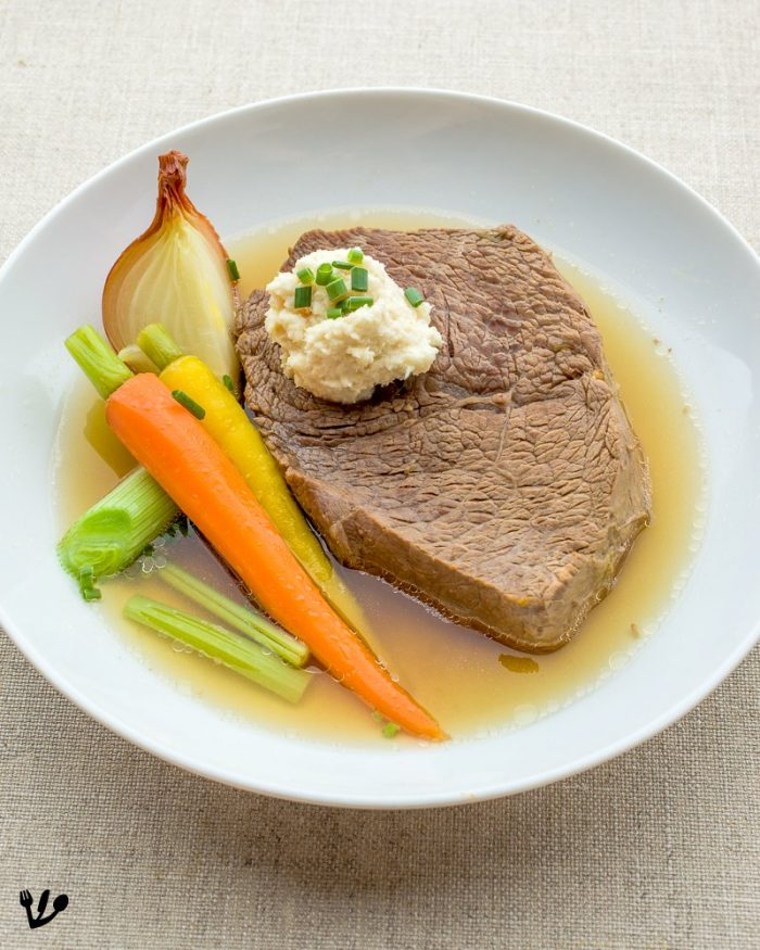Here I served a finger-thick slice of simmered tafelspitz meat with just-cooked root vegetables and my favorite cold apple-horseradish sauce. Sprinkle the slice of meat with coarse sea salt. A high-quality finishing salt would be most appropriate here!