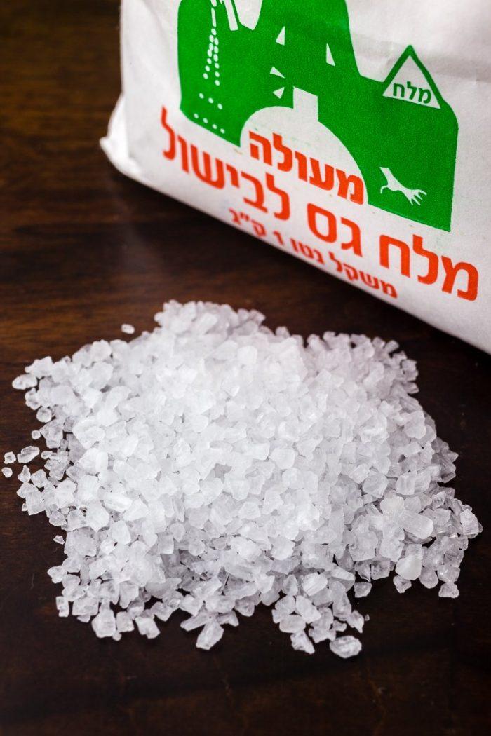 "This Israeli salt, ""coarse"" like gravel, although religiously kosher, is not a kosher(ing) salt."