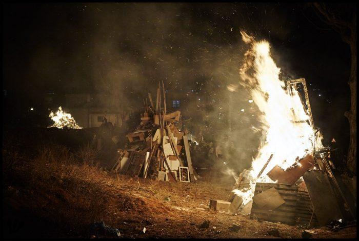 Burning. Lag Baomer Bonfires (Bnei Brak, Israel)